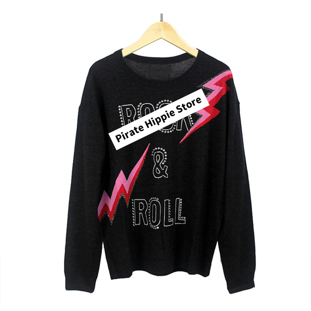 Beading Letter Graphic Sweater Women Autumn Winter Long Sleeve O Neck Black Pullover 2020 Casual Vintage Rock Sweaters Tops 3