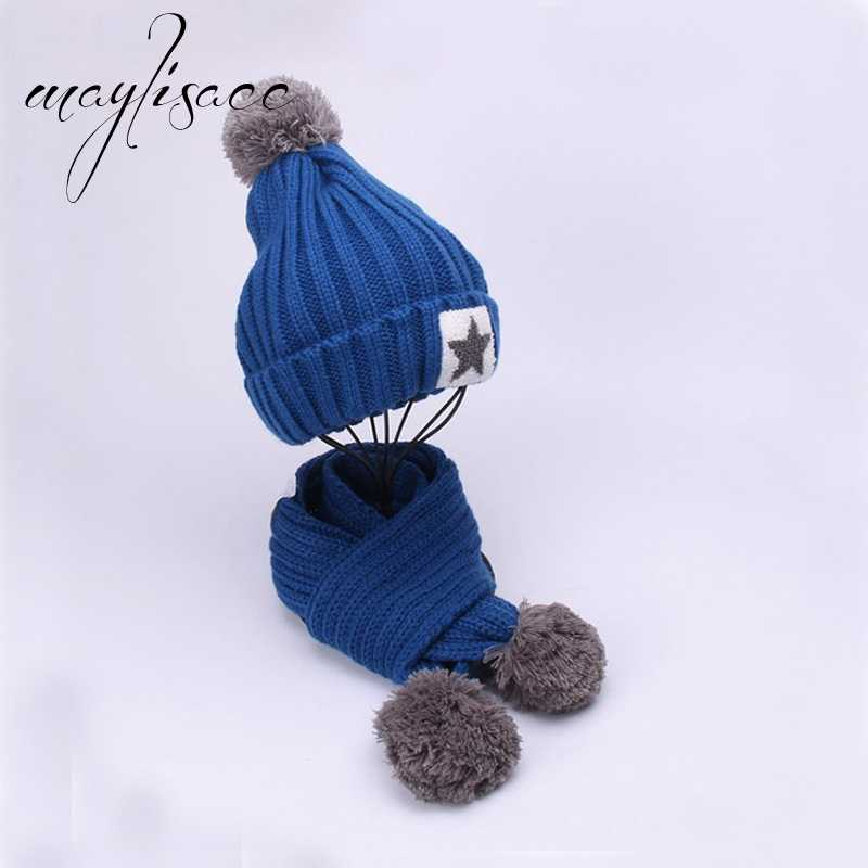 Maylisacc 7 Colors Winter Warm Knitted Hat Cap with Scarves Thickened Wool for 3-12 Years Old Boy Girl Outdoor Sports Cap Set