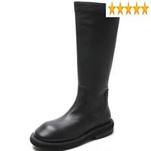 Kobiet prawdziwej skóry boczny zamek błyskawiczny na niskim obcasie wysokiej skóry wołowej okrągły nosek poślizgu na odzież na zewnątrz kobiet dorywczo platformy buty do kolan tanie tanio SICCSAEE SE (pochodzenie) Podkolanówki Szycia Stałe Plac heel Podstawowe Skóra bydlęca Zima Skóra licowa RUBBER Med (3 cm-5 cm)