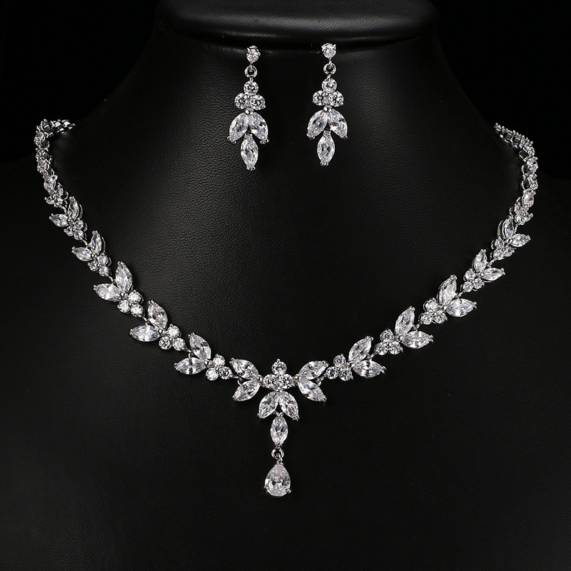 European And American Fashion Bridal Wedding Jewelry High Quality Zircon Necklace Earrings Beautiful Two-Piece Party Dress Acces