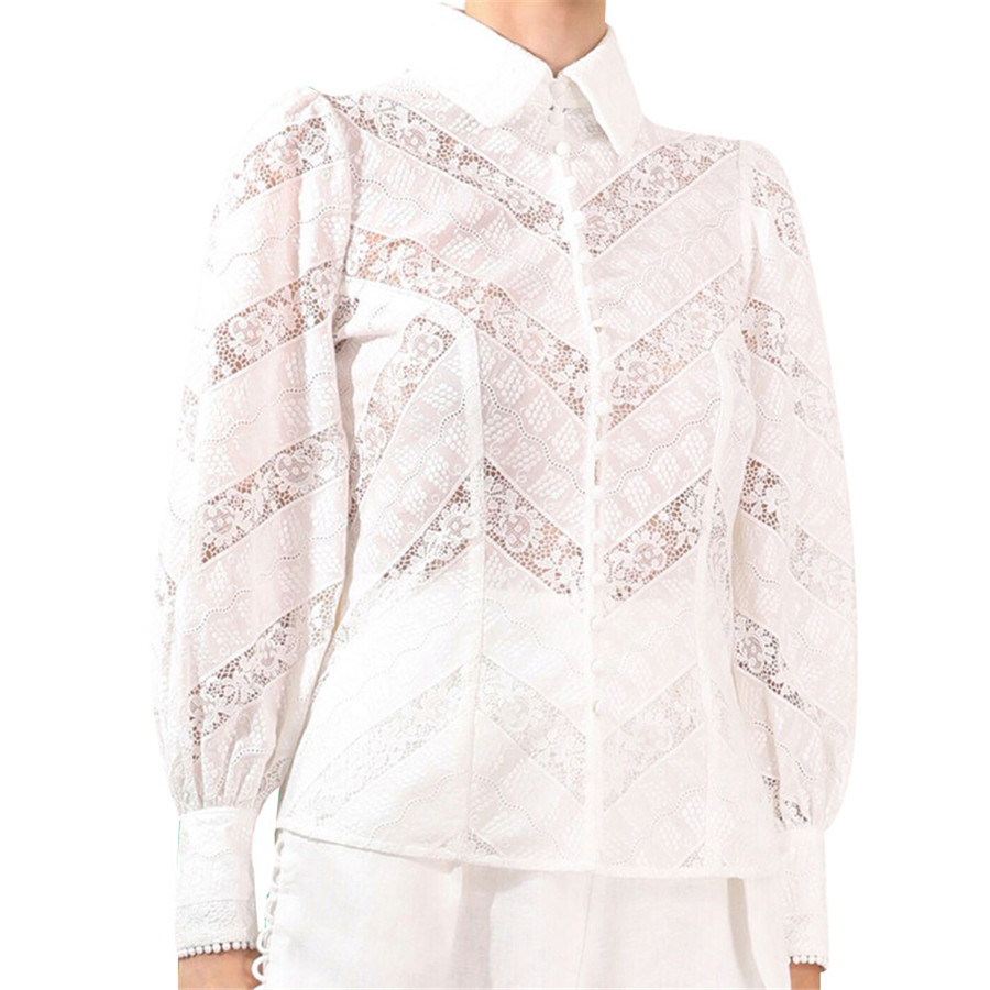 Automne femmes Blouse hauts à manches longues dentelle Perspective col rabattu chemise blanche de haute qualité haut pour femme Blouse chemise vêtements