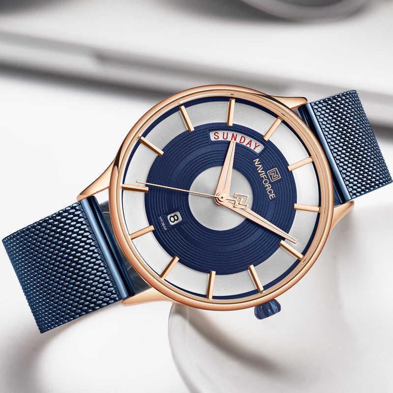 NAVIFORCE Top marque hommes analogique montre à Quartz hommes mode acier inoxydable luxe affaires montres sport décontracté étanche horloge