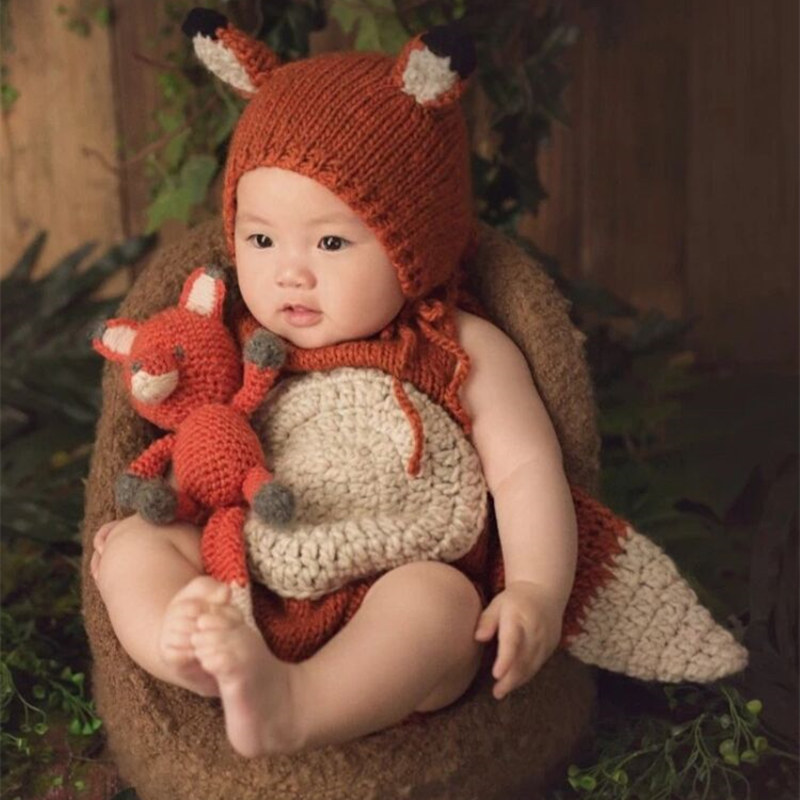 Newborn Fox Romper Photography Props,Baby Handmade Romper Photography Props