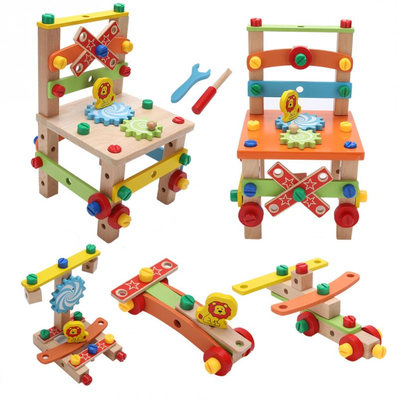 Wooden Multifunctional Assembling Chair Toy For Kid Child Learning Intelligent Toys Colorful Educational Wooden Toys Gift