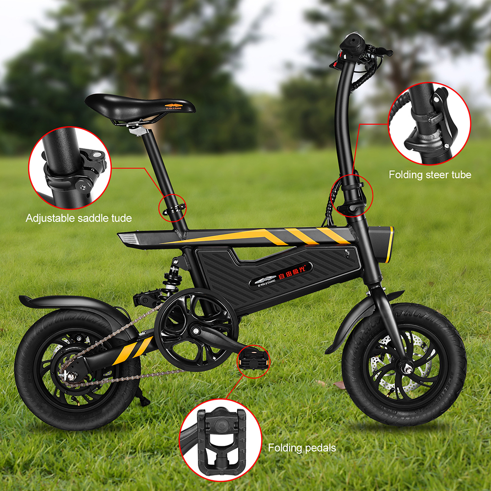 E-Bike 12 Inch Folding Power Assist Eletric Bicycle 250W Motor Brakes Bicycle Foldable Foot Pedal Electric Bike Outdoor Cycling