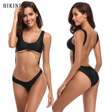 New Sexy Solid Black Swimsuit Women One Piece Suit Micro Bikini Backless Padded Swimwear S-XL Girl Low Cut Bathing Suit Monokini все цены