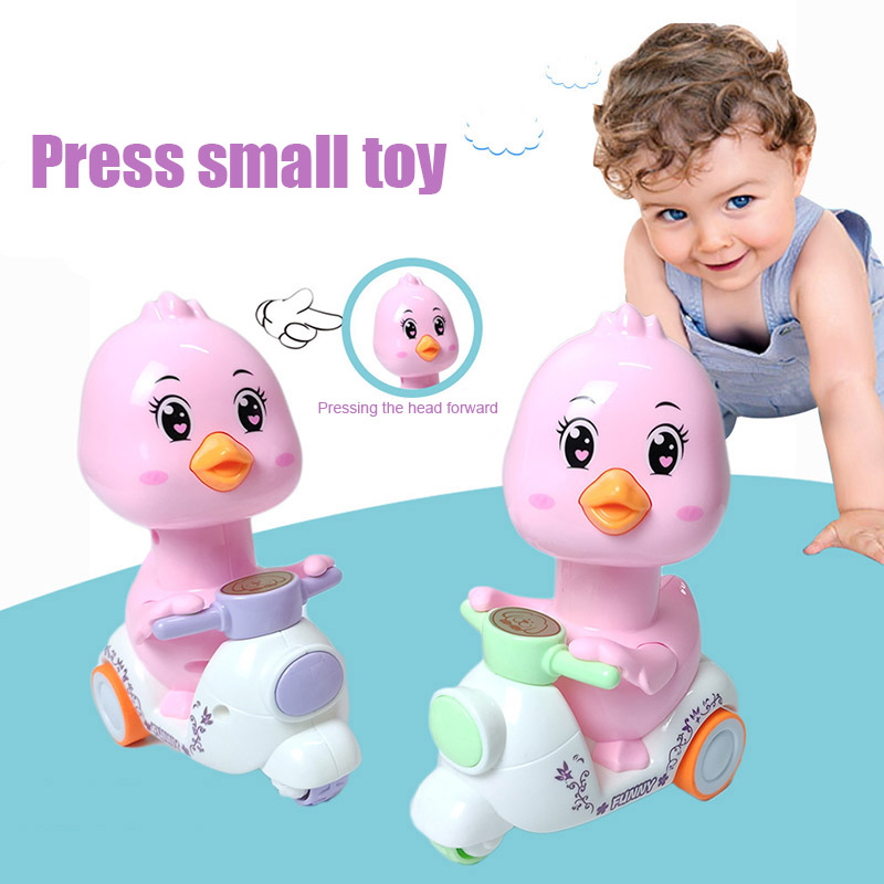 Cartoon Toy Motorcycle Press Small Funny Chick Inertia Walking Toys For Kids  AN88