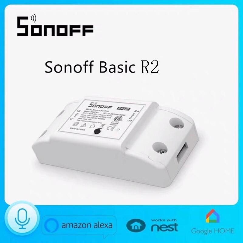 Беспроводной Wi-Fi переключатель Itead Sonoff Basic R2, умный дом, дистанционное управление через приложение eWelink, работа с Alexa Google Home Assistant IFTTT, 1 шт.