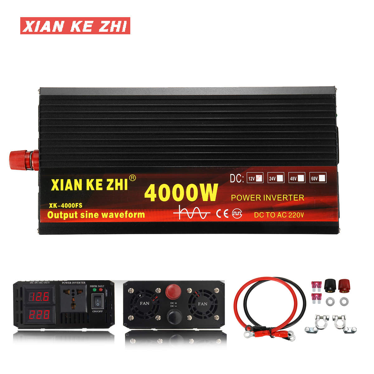 LL dawn 2000W Car Power Inverter Modified Sine Wave DC to AC 12V 24 V to 220V-240V 6000W Peak Power with USB Charging Ports and AC Outlet,12v