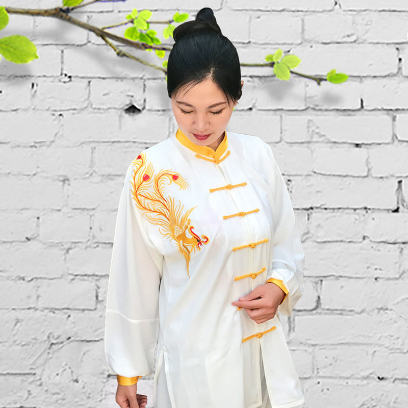 Embroidery Tai Chi Clothing Cotton And Silk Female Spring And Autumn Men's Middle-aged Tai Chi Clothing Embroidered Exercise Clo
