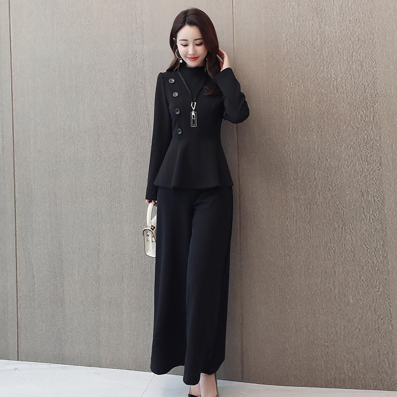 Black Grey Office Two Piece Sets Outfits Women Plus Size Buttons Tops And Wide Leg Pants Suits Elegant Fashion Ladies Suits 2019 34