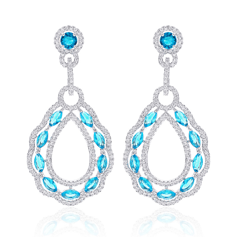 New design Clear zircon Rhinestone Drop Earrings for Women High Quality Fashion Jewelry Earrings for Wedding Party Gift in Drop Earrings from Jewelry Accessories