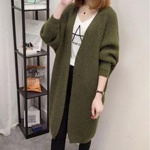 Long Sweater Women 2019 Autumn Solid Bat Sleeve Korean Coat Cardigan Femme Yellow Black Pink Green Beige Winter Knitted Jacket
