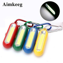 COB LED Light Mini Portable Keychain Flashlight With Carabiner  Battery Powered Camping Lamp For Outdoor Fishing Hiking Tent 1pc