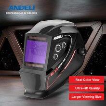 Andeli escurecimento automático capacete de soldagem faixa ajustável cor verdadeira grande vista máscara de soldagem com corte de soldagem