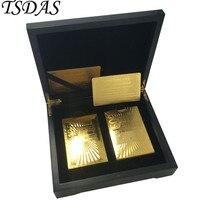 2 juegos de cartas de póquer de lujo de oro 999 EURO 500/100 24K juego de cartas de juego de póquer en negro caja de madera bonita regalos de recuerdo