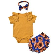 3Pcs Toddler Kids Baby Girl Romper Clothes Infant Solid Color Tops Flower Print Pants Headband Bodysuit Outfits 3Pcs Set thanksgiving toddler kids baby girl clothes long sleeve tops plaid pants leggings headband 3pcs outfits clothes set