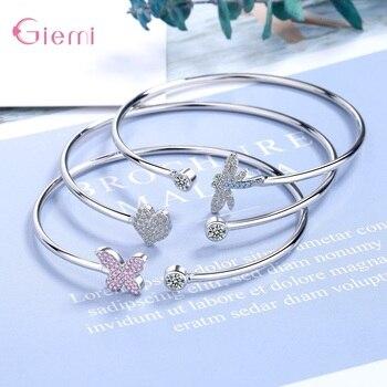 Brazalete de Animal de moda pulseras para mujer chica zirconia cúbica mariposa colgante de corazón regalos joyería Bisutería