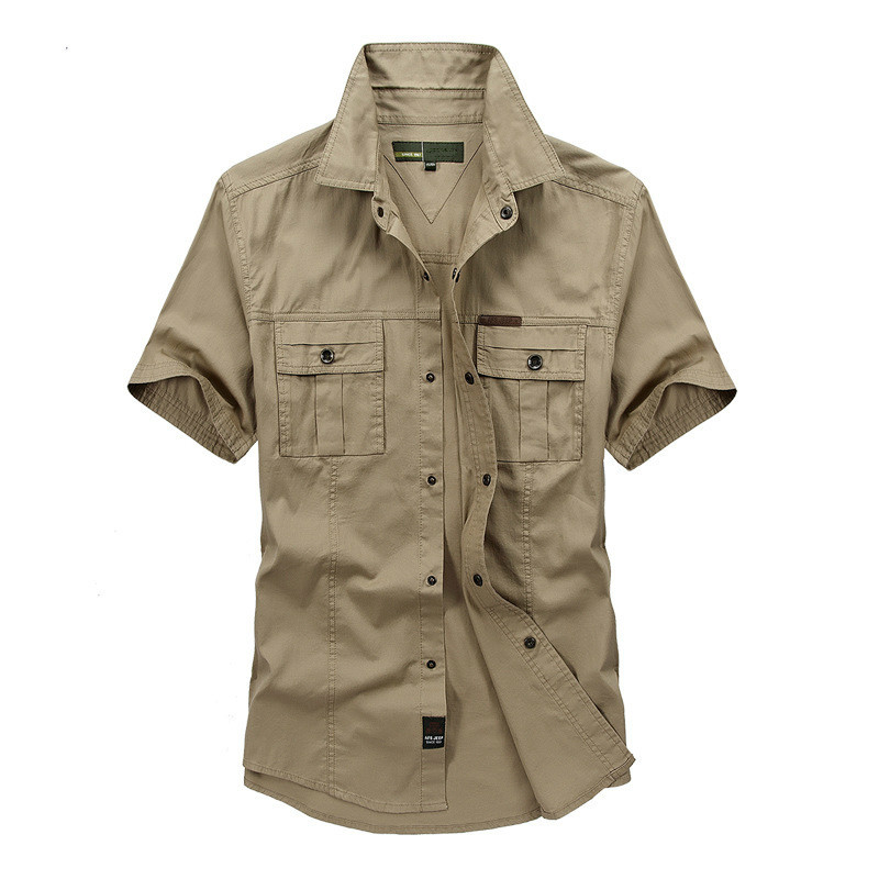 2020 Summer Shirt Men Solid Color Short Sleeve Pure Cotton Men Shirt Big Size 5XL Camisa Masculina Military Casual Mens Shirts