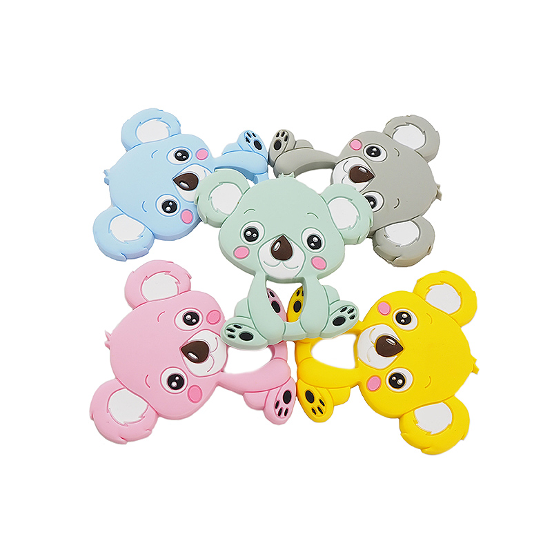 Chenkai 10PCS Silicone Koala Teether Baby Animal Teething Food Grade For DIY Chewable Pendant Nursing Bracelet Toys BPA Free
