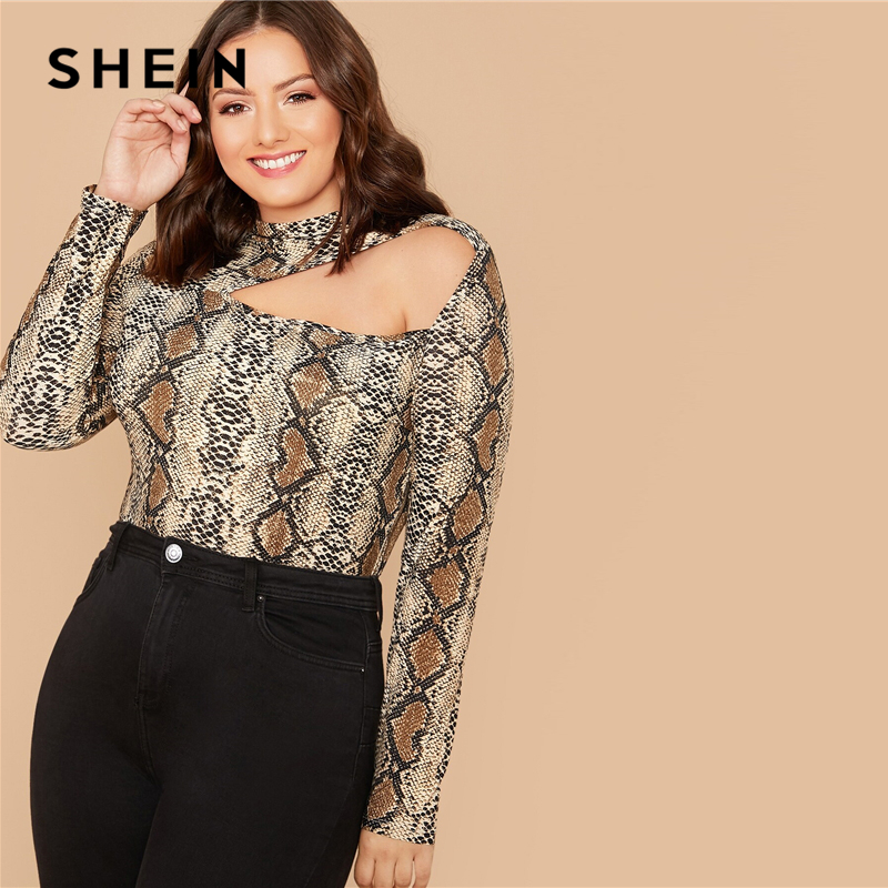 SHEIN Plus Size Multicolor Mock-Neck Cut Out Snakeskin Print Top Women Autumn Long Sleeve Slim Fit Tee Stretchy Sexy T-shirts 2