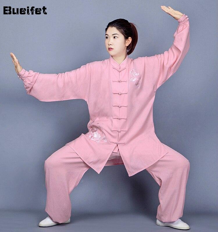 Форма для Тай Чи традиционная китайская вышитая одежда для занятий боевыми искусствами костюм WingChun с длинным рукавом унисекс форма для кунгфу|Наборы| | АлиЭкспресс