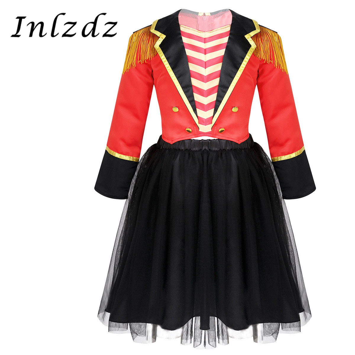 Kids Girls Circus Ringmaster Cosplay Costume Carnival Halloween Outfit Jacket with Mesh Tutu Skirt Set Role Play Games Clothes