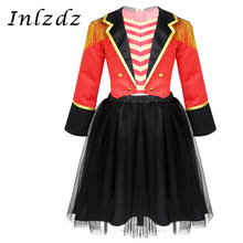 Cosplay Costume Jacket Carnival Circus Ringmaster Halloween Outfit Girls Kids with Mesh