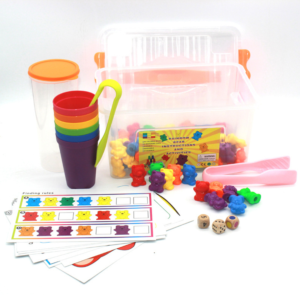 Children  100psc+ Rainbow Sensory Counting Bears Matchin G Sorting Cups Learning Preschool Educational Baby Games