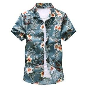 Image 5 - HCXY Camiseta de verano para hombre, camisa de manga corta ajustada con estampado Floral, ropa de tendencia para hombre, camisas informales con flores, talla M 7XL, 2019