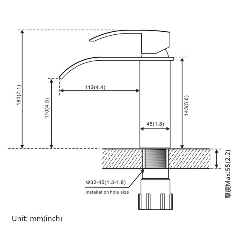 ROVOGO cascade salle de bains lavabo robinet, mitigeur d'eau chaude froide poignée unique grue, robinets de lavabo en laiton chromé - 5
