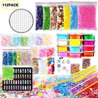 112Pack Slime Making Kit Colorful Foam Ball Granules Flat Beads Gold Powder Candy Paper Polymer Clay Set Children's DIY Material