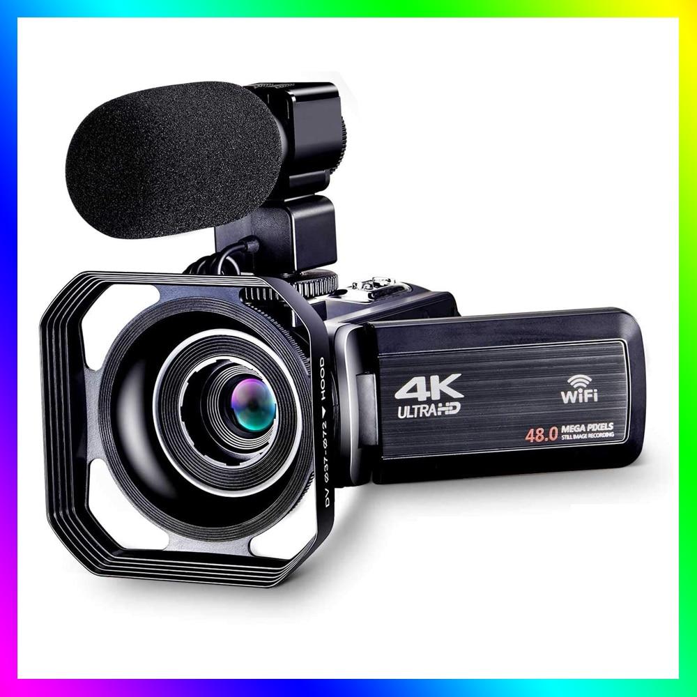 Видеокамера 4K, видеокамера для YouTube с Wi-Fi, цифровая камера Ultra HD 4K, видеокамера 48 МП с микрофоном для фотосъемки