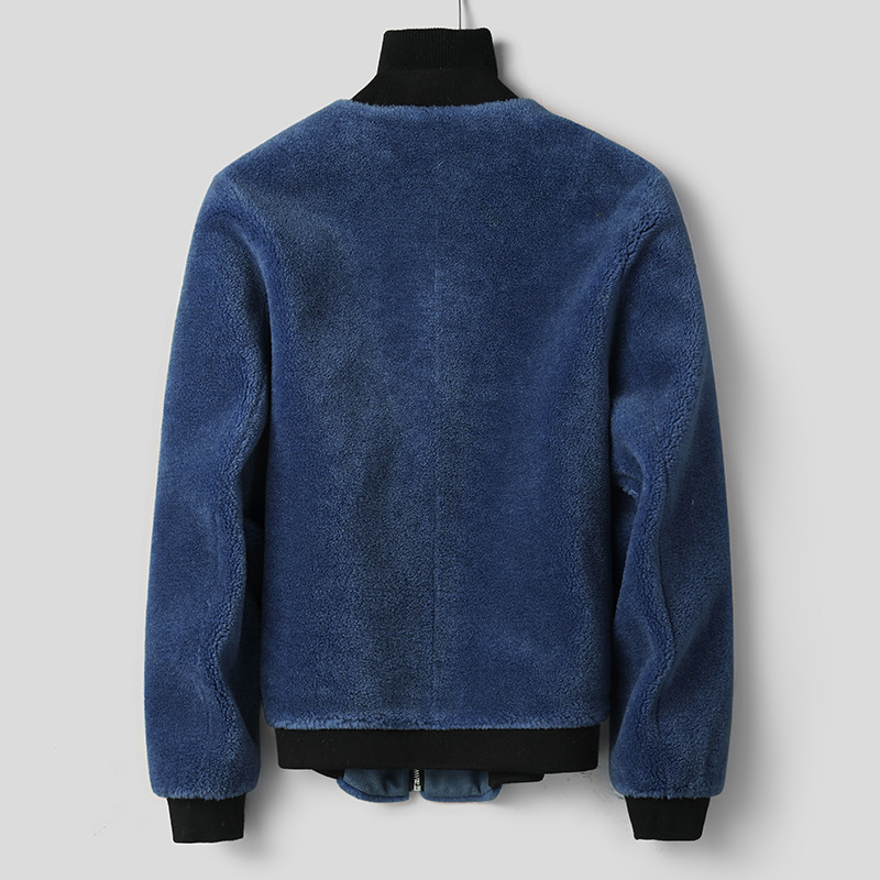 Sheep Shearing Real Wool Fur Coat Men Short Suede Leather Jacket Autumn Winter Baseball Collar Bomber L18-3704 KJ1304