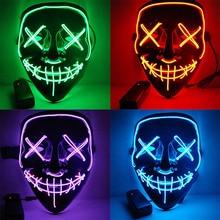 Светодиодный маска на Хэллоуин, маски для чистки, тушь для ресниц, костюм, DJ, вечерние светильник, светящиеся в темноте