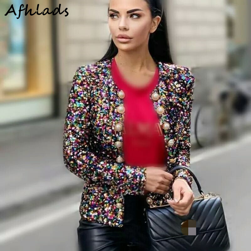 2020 Winter New Korean Sequin Long-Sleeved  Embroidery  Slim Cardigan Double-Breasted Fashion Short Suit Jacket Coats Female