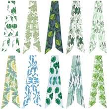 Новый маленький шелковый шарф с принтом свежих листьев тесьма