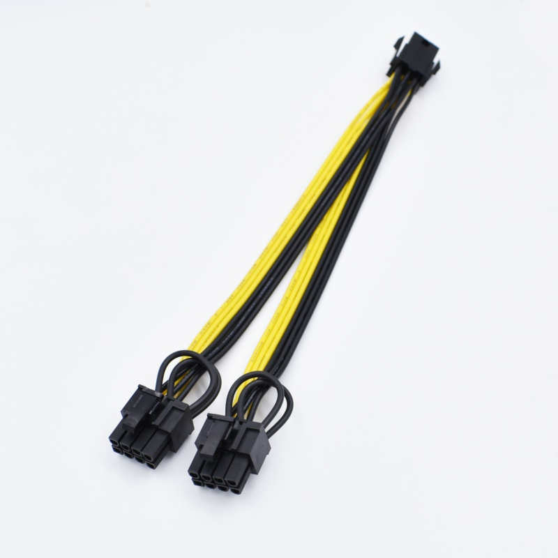 10pcs/lot free shipping 6 Pin PCI-E to 2*8(6+2)pin splitter 18AWG extention power cable