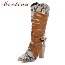 Купить с кэшбэком Meotina Winter Knee High Boots Women Mixed Colors Thick High Heel Western Boots Buckle Pointed Toe Shoes Lady Autumn Big Size 46