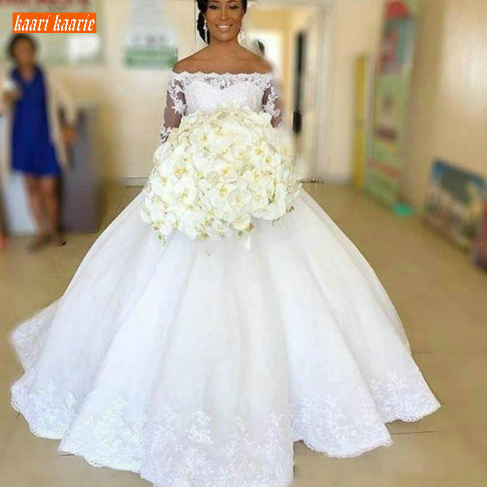 Fashion White Boat Neck Wedding Gowns Long Sleeve Applique Fluffy Off The Shoulder Wedding Dresses Princess Lace Up Bridal Dress
