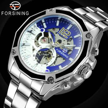FORSINING Military Automatic Watch Men Fashion Steampunk Skeleton Mechanical Watches Golden Stainless Steel Strap Male Clock forsining golden skeleton mechanical watches men luxury brand watch automatic stainless steel casual wristwatch hollow out clock