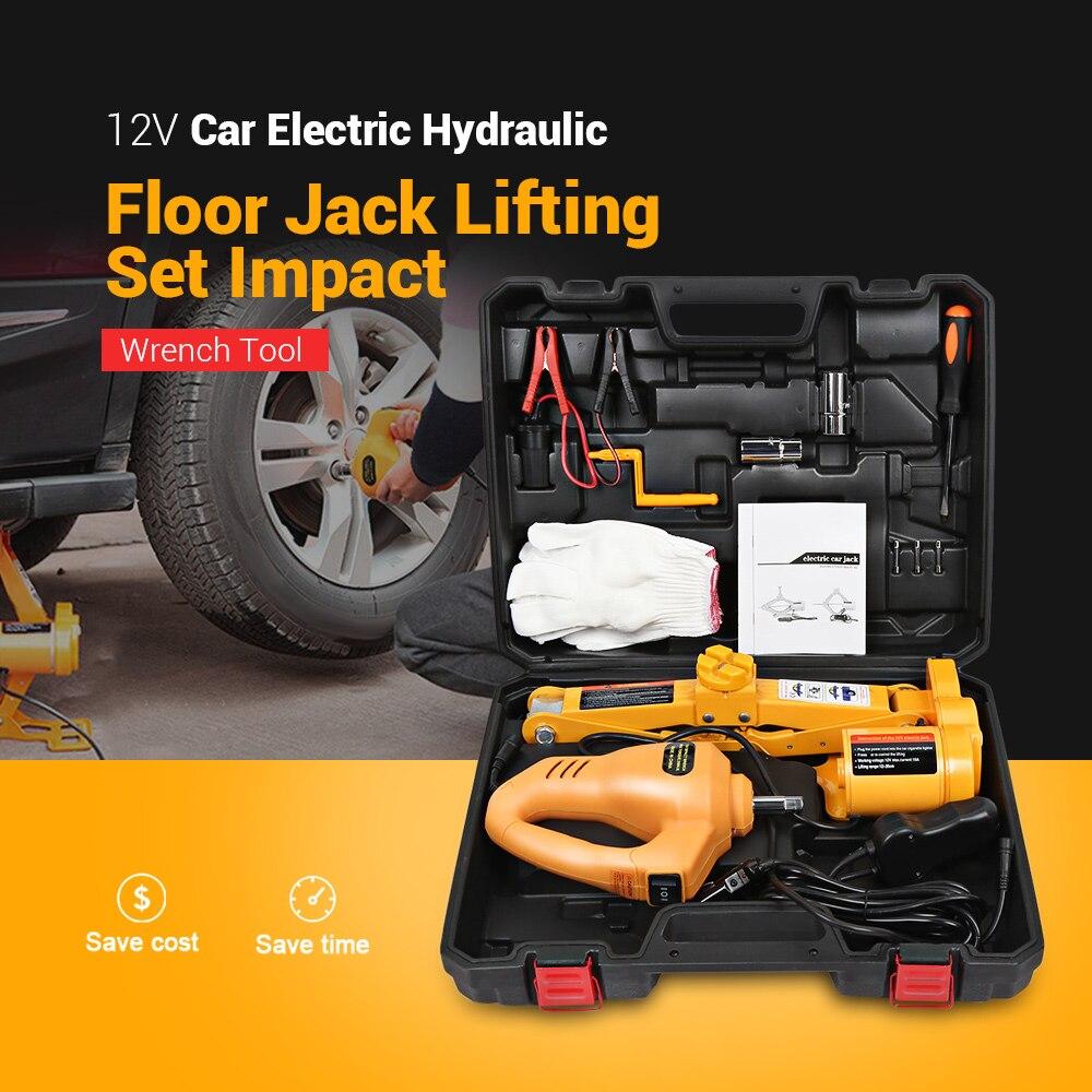 12V voiture électrique hydraulique plancher Jack ensemble de levage 42cm 2T Impact clé outil pneu réparation outil avec lumière LED télécommandée