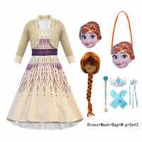 Elsa 2 anna traje para a menina vestido de ano novo criança elza up festa princesa vestido criança disfarce peruca máscara de impressão pano 10 ano