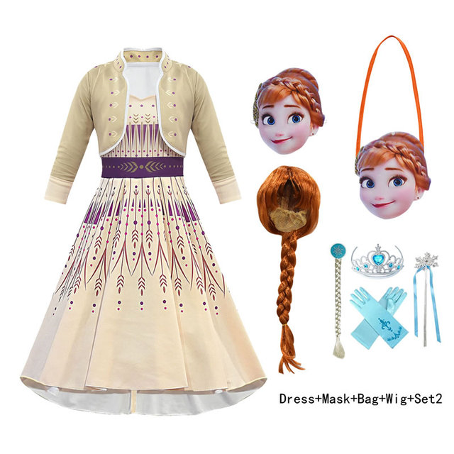 Frozen 2 Elsa Anna Costume For Girl Dress New Year Child Elza Up Party Princess Frock Kid Disguise Wig Mask Print Cloth 10 Year