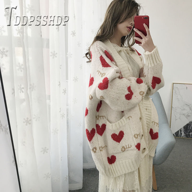2019 Fairy Women Sweater Cardigan New Casual Lovely Heart Knitting Female Sweaters