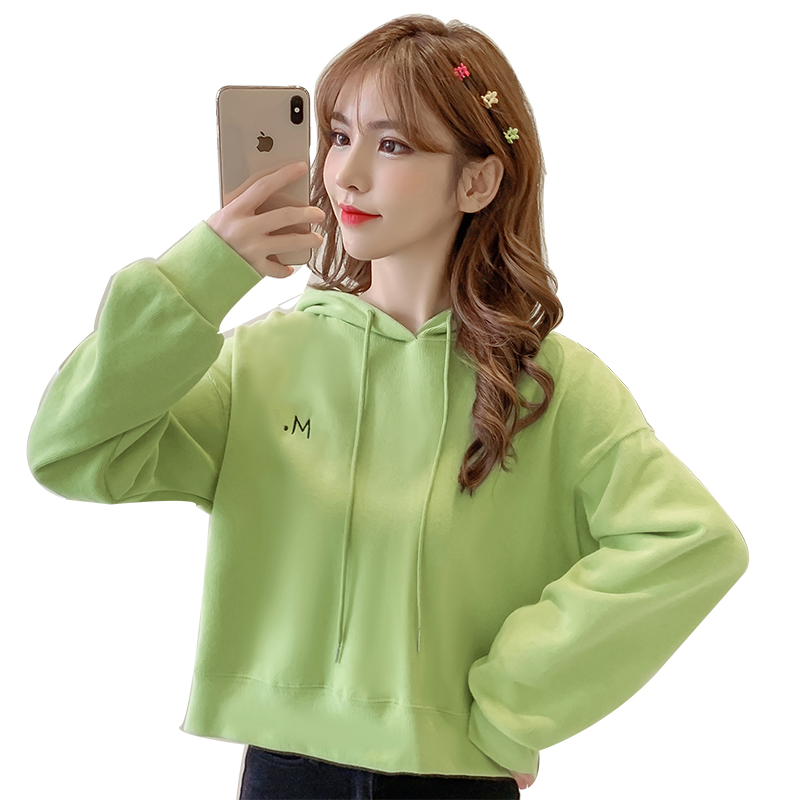 Fashion Street Hooded Sweatshirt for Women Autumn and Winter Casual Long-sleeved Solid Color Short Pullover Simple Hip Hop Top 83