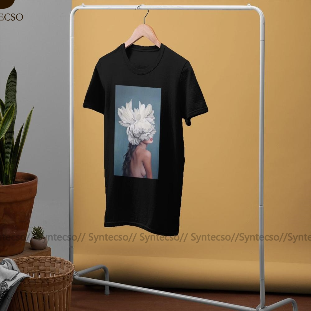 Элегантных женщин с белый цветочный футболка эстетической коротким рукавом футболки готический Харадзюку хлопок топ тройники негабаритных пара t рубашка