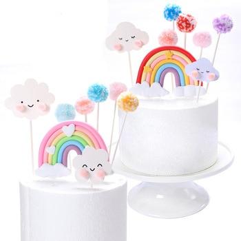 Charming Rainbow Smile Cloud Star Theme Cake Topper Colorful Cotton Balls Kids Favors Party Supplies Decoration