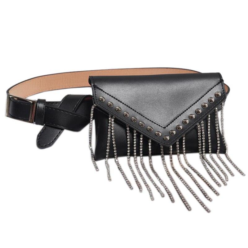 Tassel Diamonds Women Fanny Pack Fashion Rivet Streetwear Bag Glitter Purse Pu Leather Belt Waist Bag Mobile Black