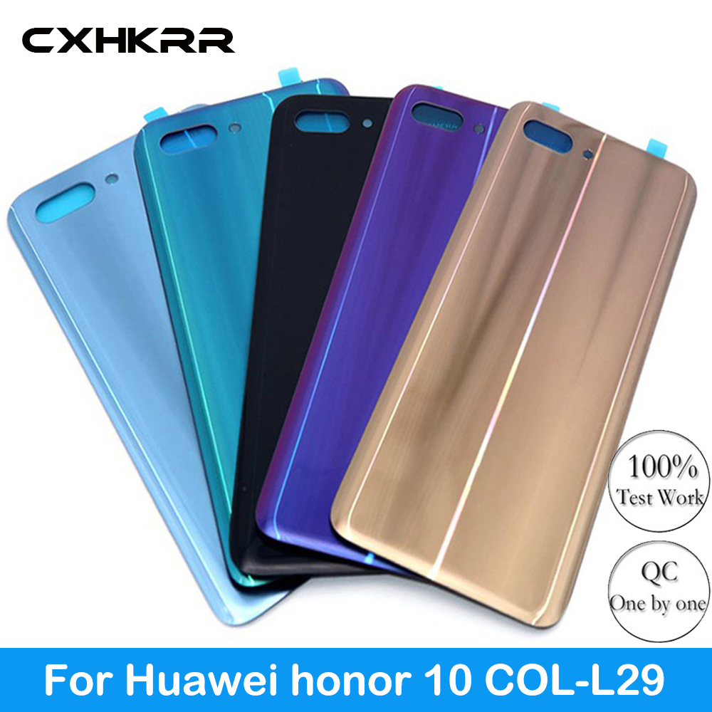 For Huawei honor 10 COL-L29 Back Battery Cover Rear Glass Panel Door Housing Case Repair Replacement Part Original with LOGO image